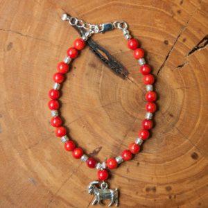 Coral / Silver Bracelet